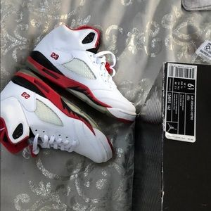 Jordan Shoes - Air Jordans five 5 retro white and red with black